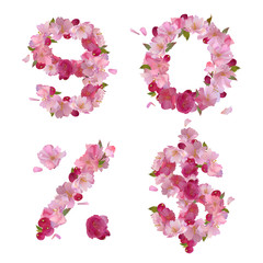 Spring font from cherry flowers figures and signs