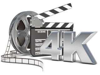 Film reels and movie clapper board. 4K video icon. 3D render illustration isolated on white background