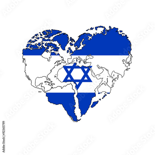 Hand Drawn logo - background - heart-shaped world map - ISRAEL flag ...