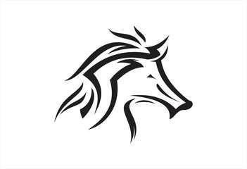 Horse head tribal logo vector