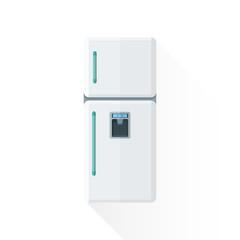 vector flat style white kitchen refrigerator illustration.