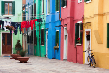 Houses of Burano an island of the main island of Venice, Italy, Europe