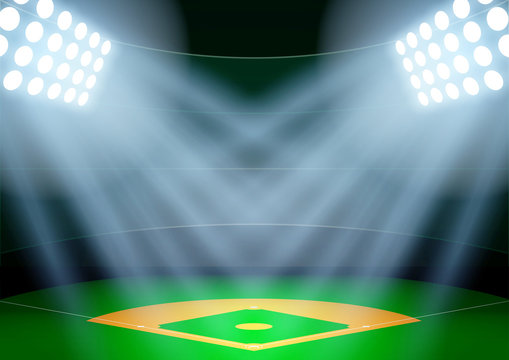 Background for posters night baseball stadium in the spotlight.