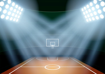 Background for posters night basketball stadium in the spotlight