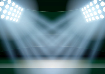 Background for posters night fencing stadium in the spotlight.
