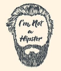 Hipster hair and beard. Vintage poster with text