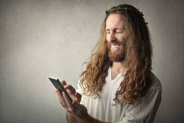 Jesus using a smartphone