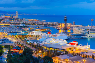 Foto op Canvas Barcelona Aerial view Barcelona at night, Catalonia, Spain