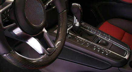 manual gearshift steering wheel close up
