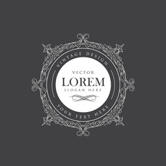 Luxury crown frame vector logos flourishes calligraphy elegant t