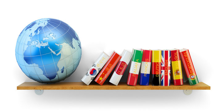 Foreign languages learn and translate education concept, dictionary books with flags of world countries and Earth globe on bookshelf isolated on white background