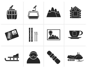 Black Ski Track and sport icons - vector icon set