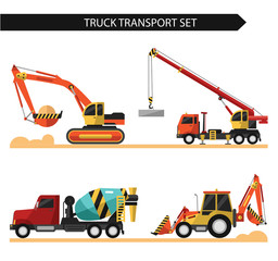 Four icons of truck transport isolated on white background. Including concrete mixer, truck crane in work, bulldozer, excavator. Flat style vector illustrations.