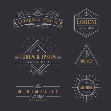 Logo set vintage vector flourishes calligraphy elegant hipster