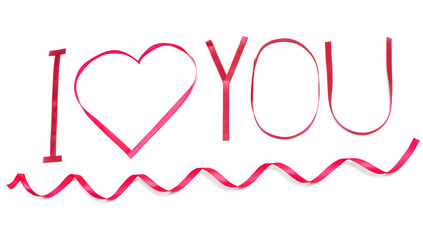 I love you. Pink heart from satin ribbon Valentines Day