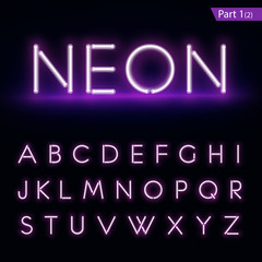 Realistic neon alphabet. Glowing font. Vector format part 1