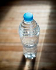water bottle put on the wood floor