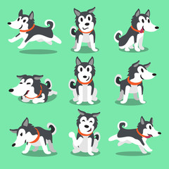 Cartoon character Siberian husky dog poses