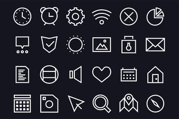 Outline vector UI user interface technology black and white