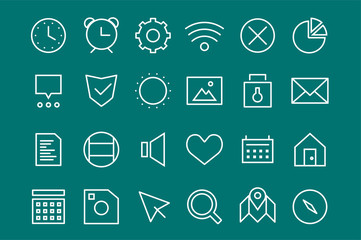 Outline vector UI user interface technology white icons set