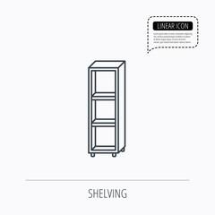 Empty shelves icon. Shelving sign.