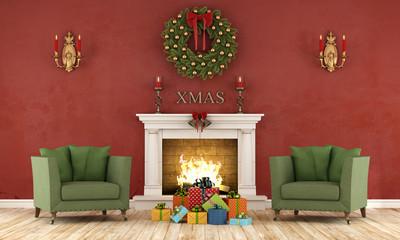 Retro christmas interior with fireplace