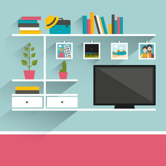 Living room with television and book shelves. Flat design vector illustration.