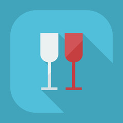 Flat modern design with shadow icons wineglass