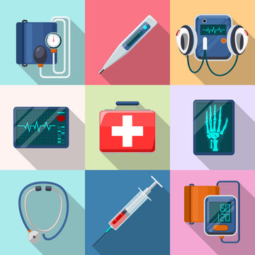 Medical devices set. Tonometer  phonendoscope, defibrillator and