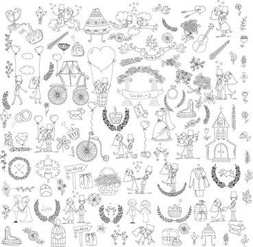 Doodle wedding set for invitation cards, including template design decorative elements - flowers, bride, groom, church, hearts