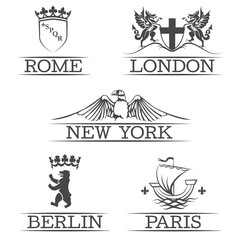 Arms Paris and Rome, emblems New York  London, sign of Berlin
