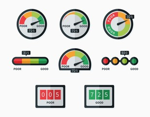 Credit score indicators and gauges vector set