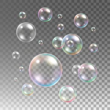 Transparent multicolored soap bubbles vector set on plaid