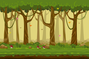 Cartoon forest landscape, endless vector nature background for