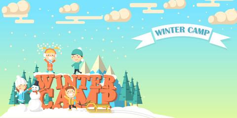 Winter camp banner with children