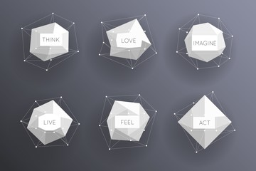 Wall Mural - Abstract low polygonal modern labels