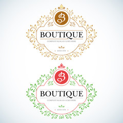 Boutique Luxury Vintage, Crests logo. Business sign, identity for Restaurant, Royalty, Boutique, Hotel, Heraldic, Jewelery, Fashion ,Real estate,Resort. Vector illustration.
