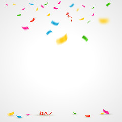 Colorful confetti background with place for text. Vector illustration