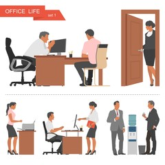 Flat design of business people and office workers. Vector