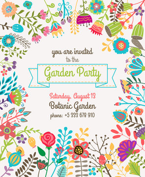 Garden or summer party invitation template poster