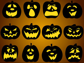 Set of pumpkin faces