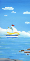 Summer banner, landscape with sailing boat. Hand painted Oil painting.