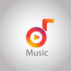 Music connecting the world logo logotype. Vector eps 10