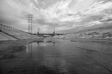 Scenic Los Angeles River Black and White