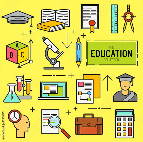Education Vector Icon Set A Collection Of Study And Research