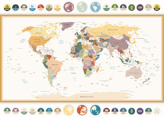 Wall Mural - Political World Map with flat icons and globes.Vintage colors.
