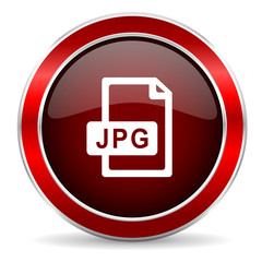 jpg file red circle glossy web icon, round button with metallic border