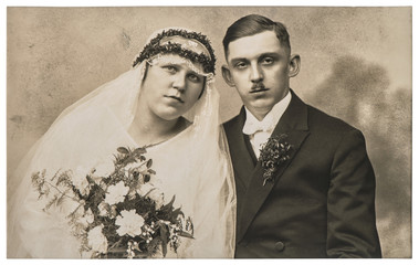 Vintage wedding photo. Just married couple. Nostalgic picture
