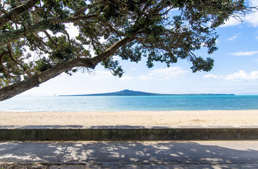 Rangitoto Island view from Mission Bay in Auckland,New Zealand.