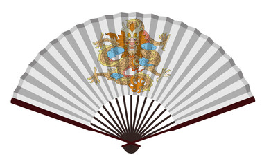 Ancient Traditional Chinese fan with Dragon